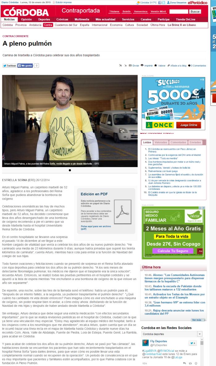 A pleno pulmón   Contraportada   Diario Córdoba